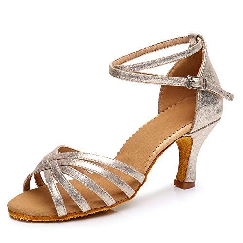 SWDZM Mujer/Niñas Estándar de Zapatos de Baile Latino Satén Ballroom Modelo ES-1810 Oro Rosa 38.5EU/25CM