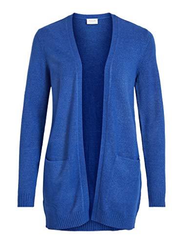 VILA CLOTHES Damen VIRIL L/S OPEN KNIT CARDIGAN-NOOS Strickjacke, Mazarine Blue/Detail:MELANGE, L