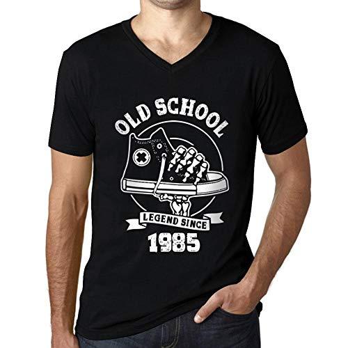 Hombre Camiseta Vintage Cuello V T-Shirt Gráfico Old School All Star Since 1985 Cumpleaños de 36 años Negro Profundo