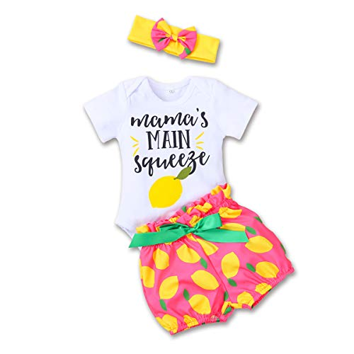 Toddler Girl Outfits 2Pcs Ruffle Mama's Main Squeeze Romper and Shorts Pants Clothes Sets (White, 80(3-6 Months))