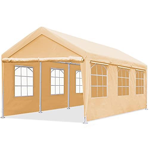 Quictent 10'x20' Heavy Duty Carport Gazebo Canopy Garage Outdoor Car Shelter Beige (with Windows)