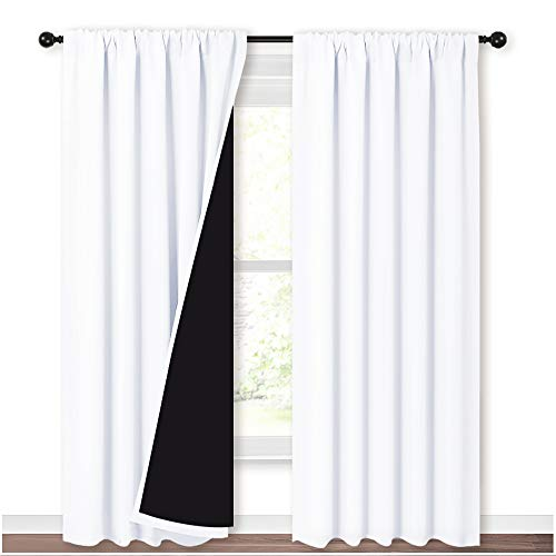 NICETOWN Sturdy Full Shading Curtains for Windows, Super Heavy-Duty Black Lined Blackout Curtains for Bedroom, Privacy Assured Window Treatment (White, Pack of 2, 52-inch W x 95-inch L)