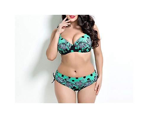 QIKC Il Nuovo 2019 Speed Sell Pass Big Yards Hot Style Bikini Costume da Bagno Commercio Estero di Grandi Dimensioni Bikini (Colore : Verde, Size : 48)