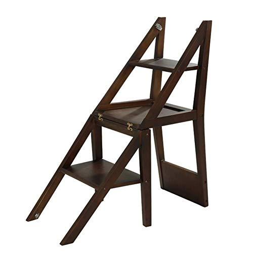 GUOXY Multifunktions-Massivholz-Schritt-Stuhl, 2 Multi-Purpose Haushalt Folding Herringbone Trittschemel Indoor Blumenstand-Zahnstange,Braun