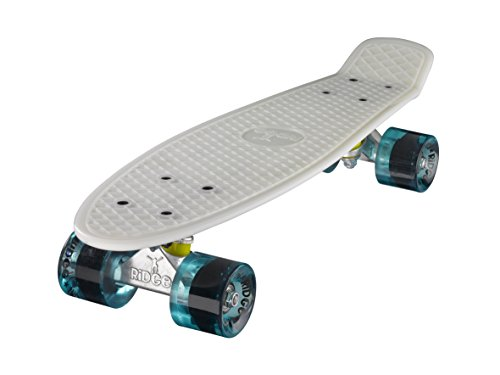 Ridge Skateboard Serie Mini Cruiser Board Komplett Fertig Montiert, Glow White/Clear Blue, 55cm, 0786471336823