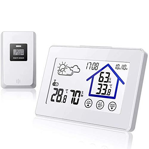 BALDR Wetterstation Funk mit Außensensor, Digital Thermometer Hygrometer Innen und Außen Raumthermometer Hydrometer (Weiß317)