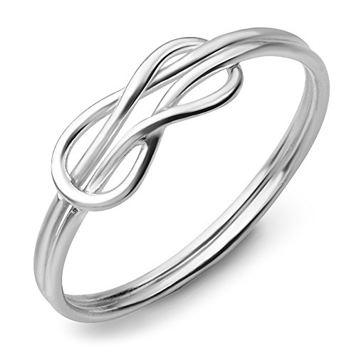 925 Sterling Silver Double Band Celtic Love Knot Symbol Infinity Ring Jewelry Size 8