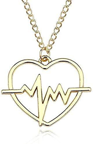 ZGYFJCH Co.,ltd Collar Colgante clásico Collar ECG Excavación Collar Colgante en Forma de corazón para Mujeres Niñas Frecuencia cardíaca Cadena de Oro Clavícula Collares Regalos Joyería