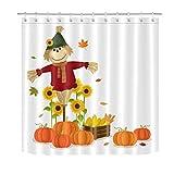 Thanksgiving Kürbis Mais Sonnenblumen Vogelscheuche HD-Druck, wasserdichter Duschvorhang für das Badezimmer, 12 Haken kostenlos, 180x180cm