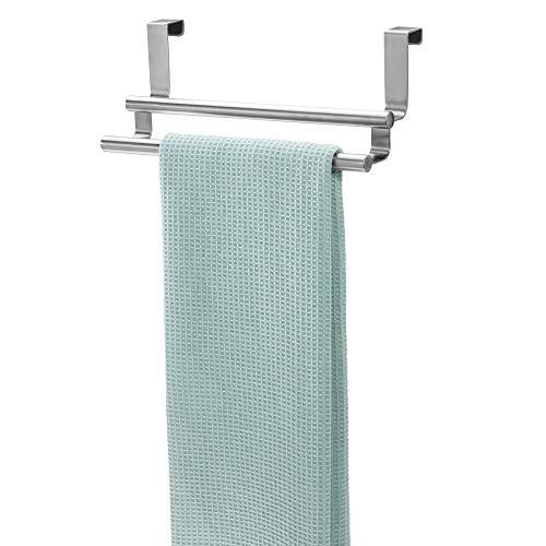 iDesign Forma Handtuchstange, doppelter Handtuchhalter aus Edelstahl, silberfarben