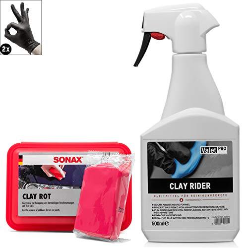 detailmate Auto Reinigungsknete Set: ValetPRO Clay Rider - 500 ml - Gleitmittel für Reinigungs Knete + SONAX Reinigungsknetmasse - gegen Sprühnebel, Flugrost, Baumharz, Teer, Insektenreste