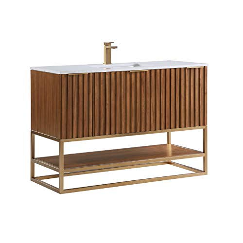 """Terra 48"""" Bathroom Vanity and Sink Set, Walnut and Satin Brass with White Granite Counter Top and Ceramic Undermount Sink"""