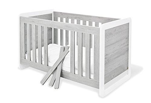 Pinolino 113440 moderne, lit pour enfant avec 3 barreaux tendance, en MDF, mat inoxydable et revêtement, 140 x 70 x cm, frêne gris/Blanc