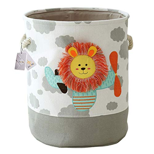 Znvmi Large Laundry Basket Collapsible Fabric Nursery Hamper Cute Cartoon Clothes Bag Children Toys Storage - Lion/Grey