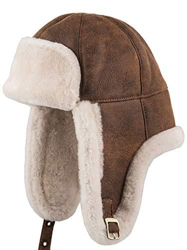 Sterkowski Fargo Cap | Genuine Leather Bomber Hat | Trapper Hat for Men Russian Fur Hat Aviator Hat Leather Hat Pilot Hat Mens Winter Hats Arctic Hat Ushanka Hat Men US 7 1/4-7 3/8 Cinnamon Brown