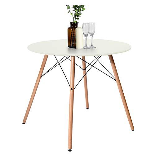 FUNITURE-R Fance Maddie Table Ronde a Manger de 2 a 4 Personnes scandinave laqué et Pieds hetre Massif - l 80 x l 80 cm (Blanc)