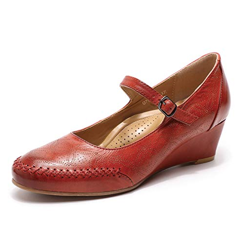 Mona flying Women's Leather Wedge Pumps Dress Shoes Med Heel Round Toe Mid Heels for Women Office