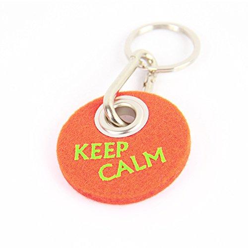 'Llavero de fieltro Keep Calm, color naranja–Idea para él y para ella regalo