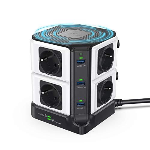 BESTEK Regleta Enchufe con Qi Cargador Wireless 10W, Regleta Vertical 8 Tomas y 6 Puertos USB, Regleta Alargador con Estación de Carga Wireless(1500J Surge Protección, 3600W/16A, Cable de 1,8m)-Negro