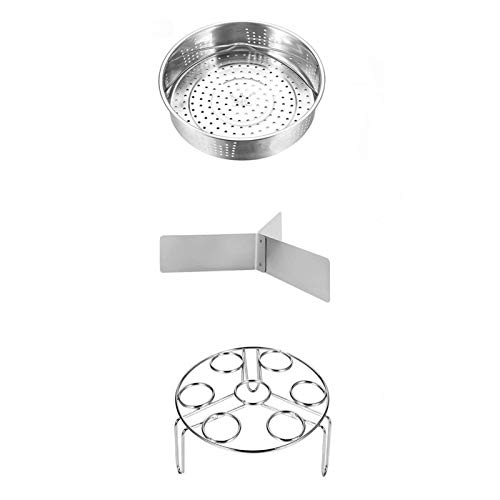 Sweet&rro17 Juego de 3 cestas de vapor para accesorios de olla a presión, cestas de vapor de acero inoxidable, soporte para huevos al vapor