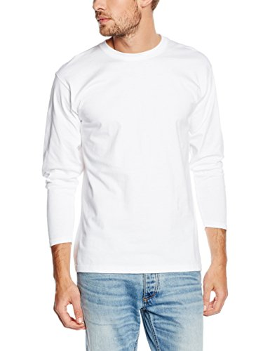 Fruit of the Loom Super Premium Long Sleeve T-Shirt, Bianco, L Uomo