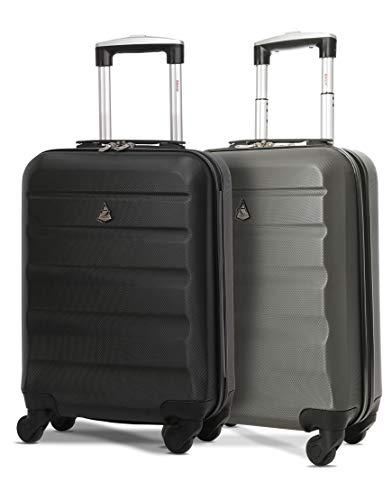 Aerolite Leichter ABS Hartschale 4 Rollen Handgepäck Trolley Koffer Bordgepäck Reisekoffer für Ryanair, easyJet, 2 Teilig (Holzkohle + Schwarz)
