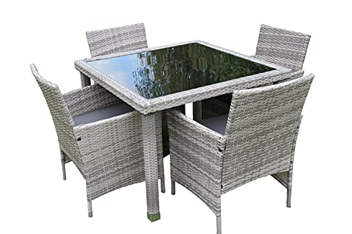Stratford Rattan Weave Garden 4 Seater Dining Set Complete With Cushions