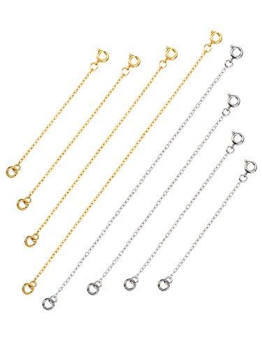 Mudder Chaîne d'Extension Rallonge de Chaîne Collier Extension en Acier Inoxydable pour Fabrication de Bijoux, 8 Pièces, Argent et Or