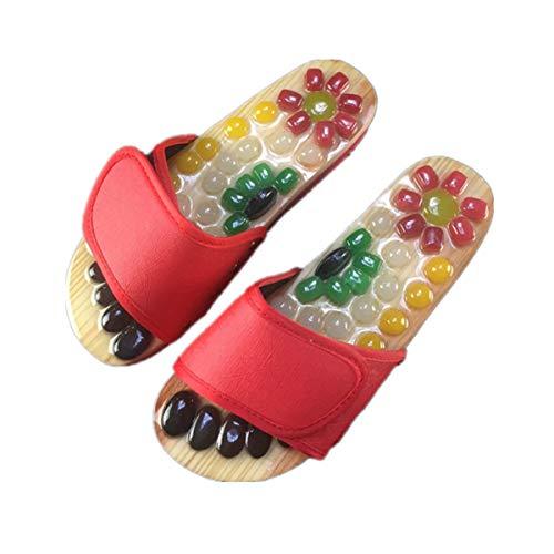 YELAN männliche und weibliche rotierende Klatschfarbe Jade Fußgesundheit Massageschuhe Magnetfeldtherapie Massage Hausschuhe Punkt Massage Hausschuhe (Dark red, Numeric_35)