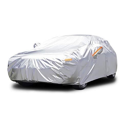 Dripex Car Cover Universal Fully Waterproof Dustproof Scratch Proof UV Protection Durable Breathable All Weather Protection Outdoor Indoor With Zipper Cotton Sedan Cover(485 * 193 * 143 cm)