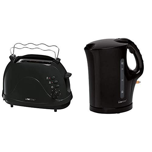 Clatronic TA 3565 2-Scheiben-Toaster, Cool-Touch Gehäuse, integrierter Brötchenaufsatz, schwarz & WK 3445 Wasserkocher, 1,7 Liter, 2 außenliegende Wasserstandsanzeigen, Edelstahlheizelement, schwarz