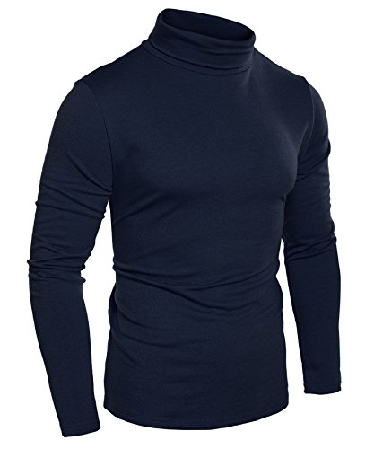 COOFANDY Mens Slim Fit Basic Thermal Turtleneck T Shirts Casual Knitted Pullover Sweaters Navy