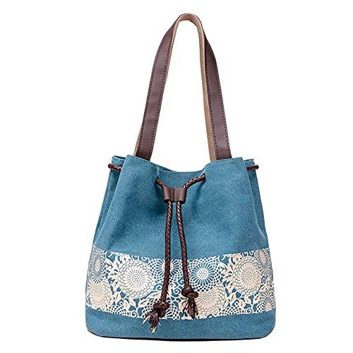 WANZPITS Damen Retro Lässige Bedruckte Leinwand Handtaschen, Umhängetaschen Und Umhängetaschen Dual-Zweck,7