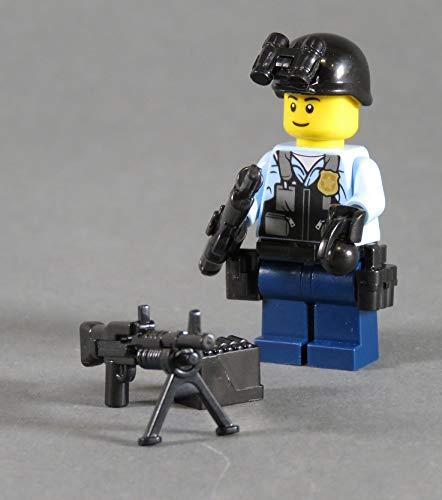 Markenwelt-Voegele Polizei Figur Polizist SWAT aus Lego ® und Custom Teilen mit Zubehör Helm