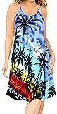 LA LEELA Mini Abito Beach Top Tunica Vestito dall'oscillazione Caftano delle Donne Blu Reale_Z15 XL