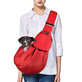 SlowTon Pet Dog Cat Hand Free Sling Carrier Shoulder Bag Adjustable Padded Shoulder Strap Tote Bag with Front Pocket Outdoor Travel Puppy Carrier for Walking Daily Use 20
