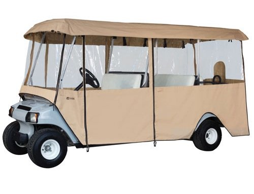 Universal Deluxe Driveable 6-Passenger Golf Cart Enclosure - TAN (up to 119