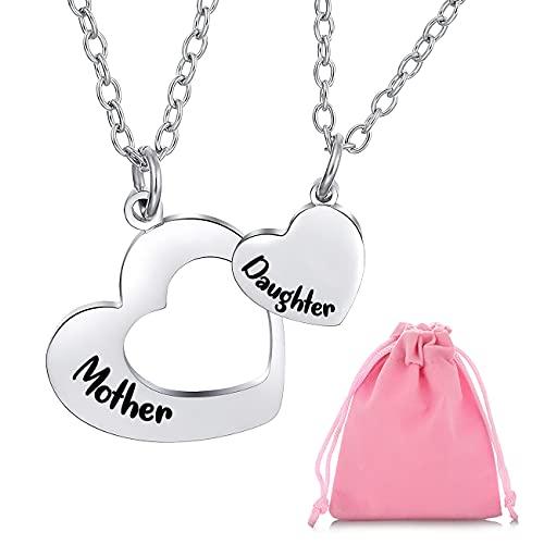 Collar de plata para mujeres y niñas, 2 collares de mamá de hija con colgantes de corazón grabados, collares de madre e hija, de cumpleaños y el día de la madre