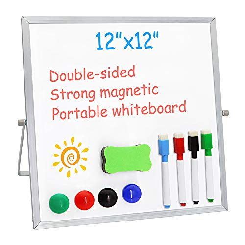 """Small Dry Erase Board for Desk 12"""" X 12"""",Double Sided Whiteboard Includes 4 Magnetic Pens, 4 Magnetic Piece and 1 Dry Eraser, for Kids, Home, Office, School"""