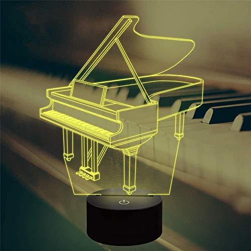 3D-LED-Illusionslampe, Klavier-Nachtlicht, 16 Farben, wechselt mit Fernbedienung, Geburtstagsgeschenk für Kinder und Mädchen