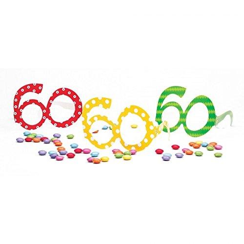 Givi Italia - Paquete de 6 gafas de papel número 60 años coloridos lunares accesorios cumpleaños adulto, surtidos, 50119