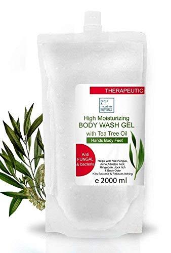 bleu & marine Bretania Antibakteriell handtvätt tvål te träd antisvamp kroppstvätt antiakne tvätt duschgel påfyllning 2 000 ml - fotsvamp nagelbehandling