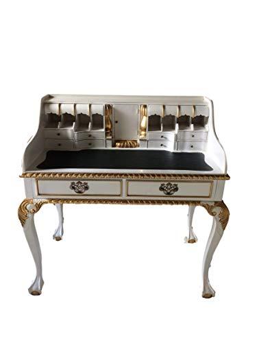 Antiker Barock Louis Seize Renaissance Rokoko Sekretär Farbe:weiß/Gold Schreibtisch Schminktisch Länge102xHöhe108xBreite58cm Nr.4