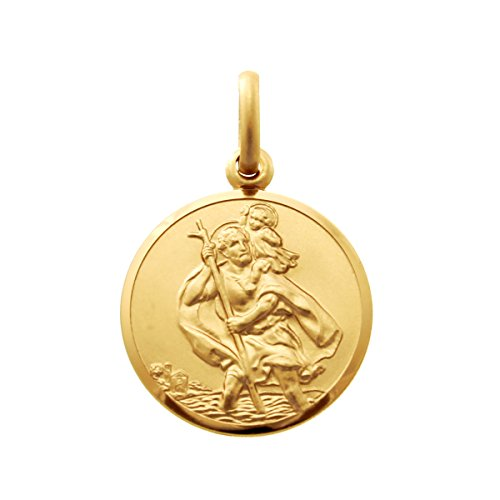Small 9ct Gold St Christopher Pendant Medal - 14mm - Includes Jewellery presentation box
