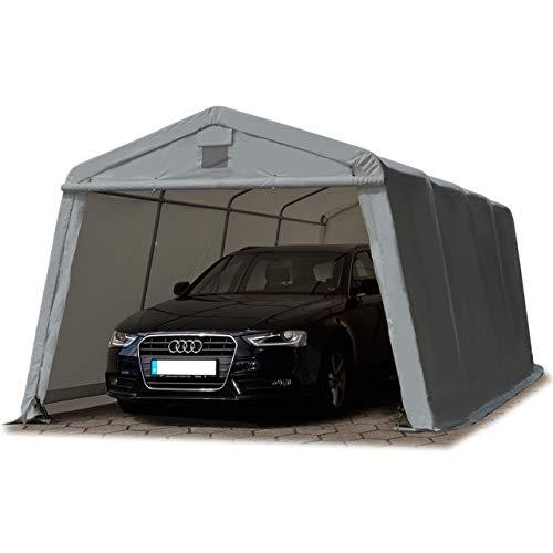 TOOLPORT Zeltgarage 3,3 x 6,2 m Weidezelt Premium Carport 500 g/m2 PVC Plane Unterstand Lagerzelt Garage in dunkelgrau