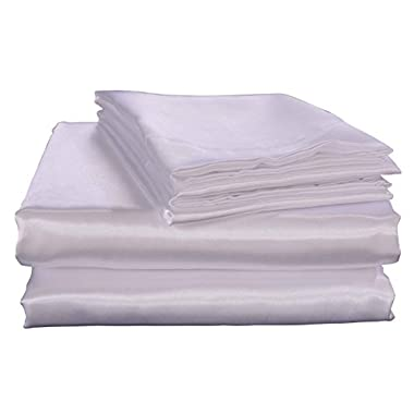 HONEYMOON HOME FASHIONS Ultra Luxury and Soft Satin King Bed Sheet Set - White