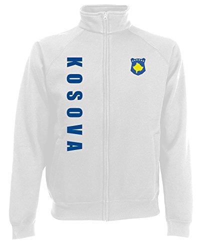 AkyTEX Kosovo Kosova EM-2020 Sweatjacke Wunschname Wunschnummer Weiß S