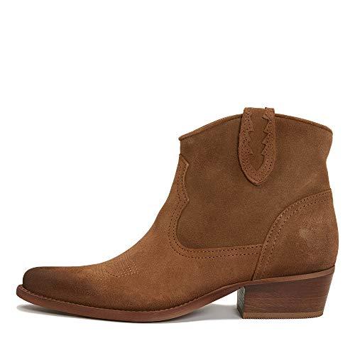 Felmini - Damen Schuhe - Verlieben WEST B504 - Reißverschluss Stiefeletten - Echtes Leder - Braun - 36 EU Size