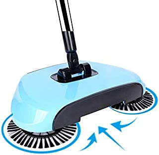 360 Rotary Manual Floor Dust Sweeper Household Cleaning Hand Push Sweeper Broom Without Electricity 3 in 1 Portable Sweeping Machine Lake (Blue)