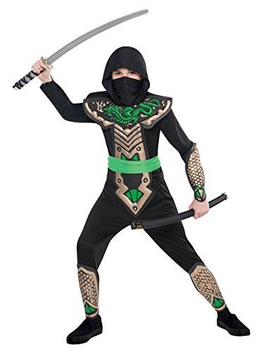 amscan 997022 Costume de ninja dragon vert avec écharpe et capuche 4-6 ans 1 pièce